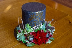Christmas hat with velvet flower